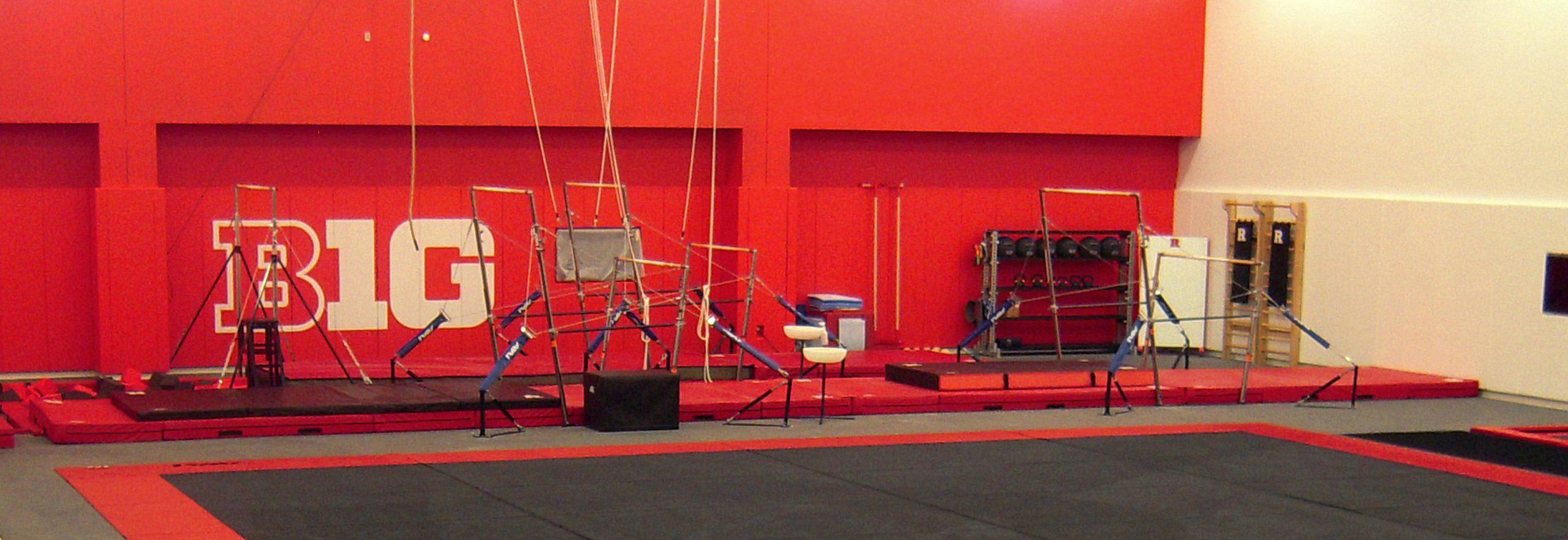 Rutgers Gymnastics beam & trampoline area.