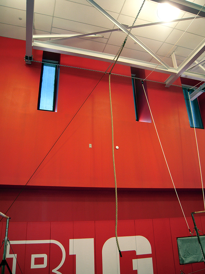 Rutgers Gymnastics New Gym Climbing rope